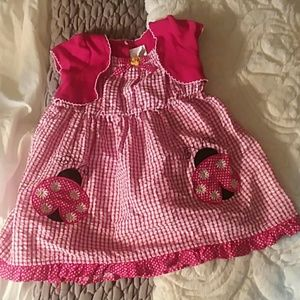 Little Girls Dress Ladybug Red White